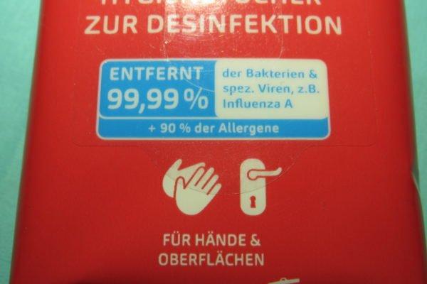 Hygienetücher zur Desinfektion von Hakle 2
