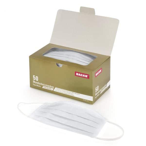 Mundschutzmaske PREMIUM+50 Stück Packung, Medizinprodukt • Bakterienfiltrationseffizienz (BFE):>99 %; EN 14683: Typ II 2