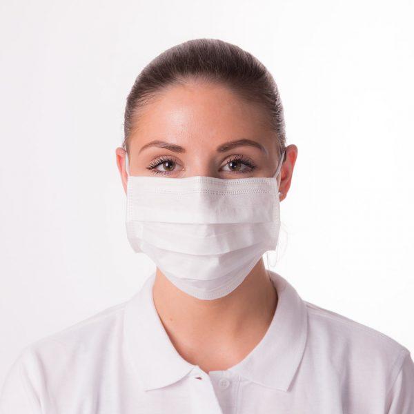 Mundschutzmaske PREMIUM+50 Stück Packung, Medizinprodukt • Bakterienfiltrationseffizienz (BFE):>99 %; EN 14683: Typ II 1