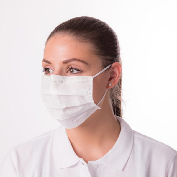 Mundschutzmaske PREMIUM+50 Stück Packung, Medizinprodukt • Bakterienfiltrationseffizienz (BFE):>99 %; EN 14683: Typ II 4