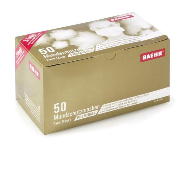 Mundschutzmaske PREMIUM+50 Stück Packung, Medizinprodukt • Bakterienfiltrationseffizienz (BFE):>99 %; EN 14683: Typ II 3