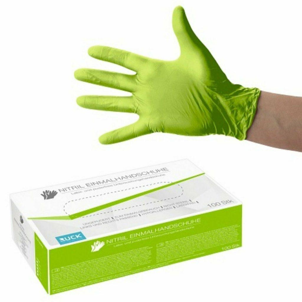 Nitril-Einmalhandschuhe leuchtend grün, GR: L  100 Stück/Box Artikel-Nr.: RU-2924004 1