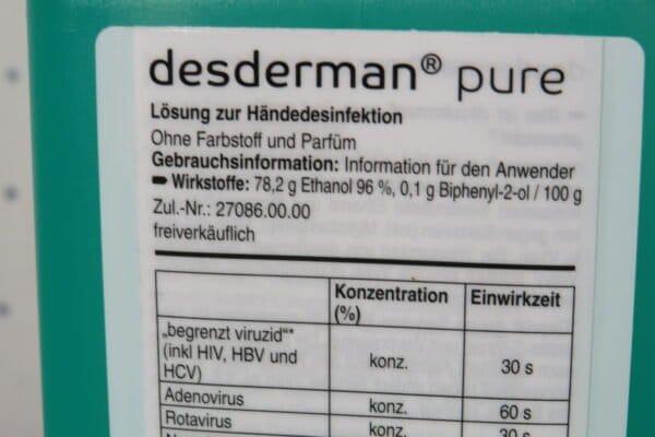 desderman® pure Händedesinfektion, 500 ml (33,90/l) 3