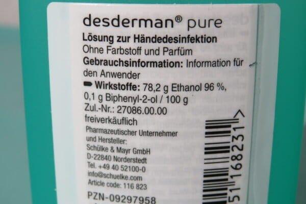 Schülke Desderman pure Händedesinfektion, 100ml Kittelflasche (59,90/L) 3