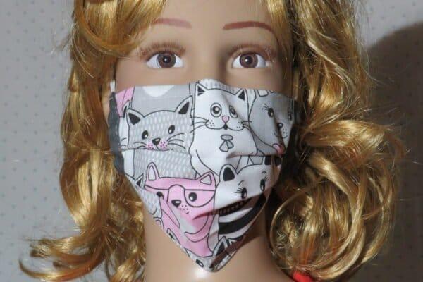 "Alltagsmaske Modell ""Liberty Kids Cats Black"" 1"