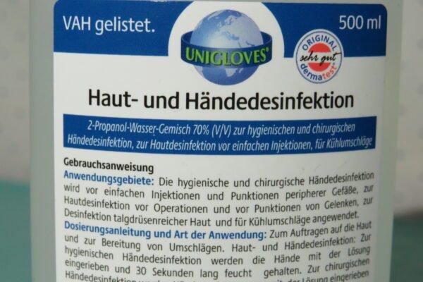 Haut- und Händedesinfektion UNIGLOVES 500ml (33,98/L) 2