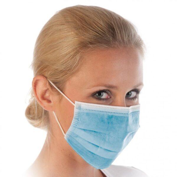 50 Stück Mundschutz blau OP Schutzmaske 3-lagig Praxis Klinik Schutz 1