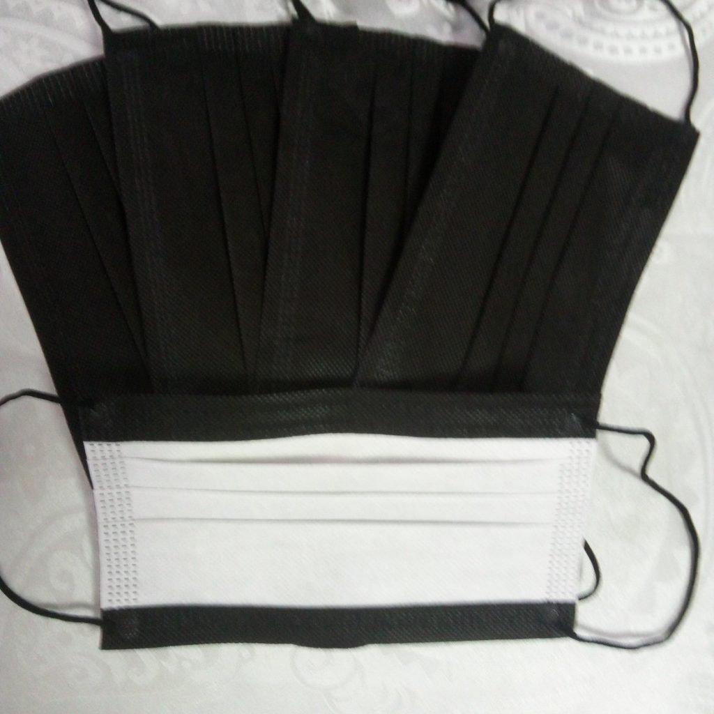10 Stück schwarz Mundschutz Nasenschutz Atemschutz Einweg 3 lagig 2