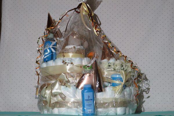 Windeltorte*Schloß*Geschenk zur Geburt,Taufe,Babyparty o. als Mitbringsel 2