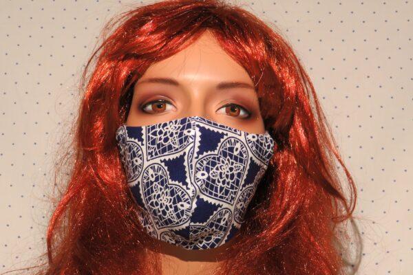 "Alltagsmaske Modell ""Skyline Blue Hearts"" 1"