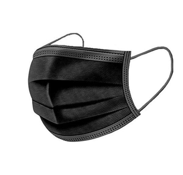 10 Stück komplett schwarzer Mundschutz Nasenschutz Atemschutz Einweg 3 lagig 1