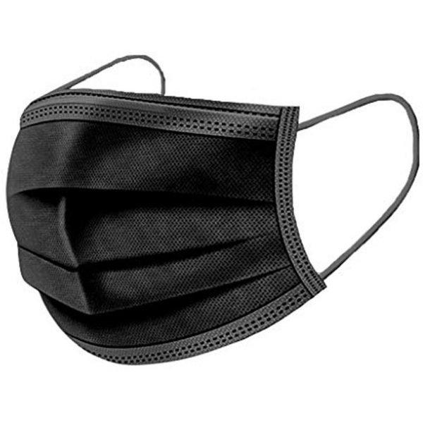 50 Stück OP Mundschutz Typ II schwarz Nasenschutz Atemschutz Einweg 3 lagig 2