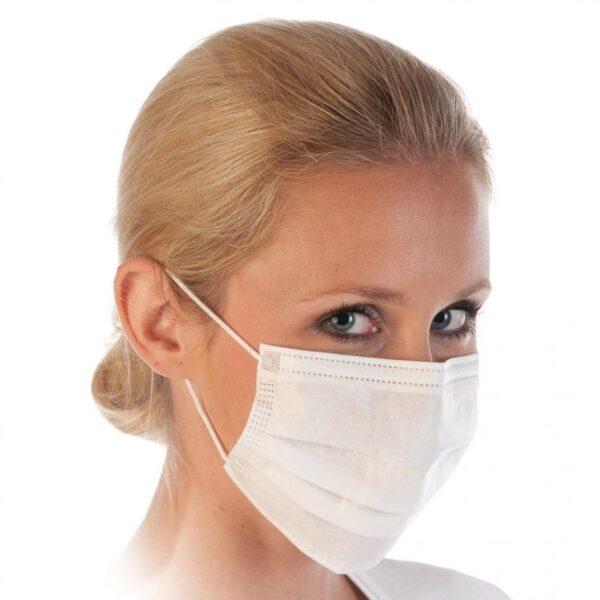50 Stück weißer Mundschutz OP Nasenschutz Atemschutz Einweg 3 lagig 1