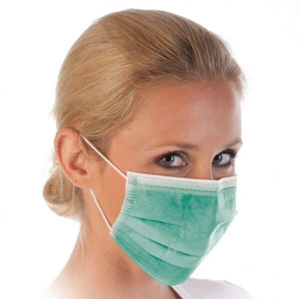 50 Stück  Mundschutz - GRÜN  OP Nasenschutz Atemschutz Einweg 3 lagig 1