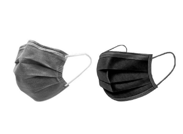 50 Stück  Mundschutz  Farbe: 25 x Grau & 25 x Schwarz Einweg  3-lagig 1