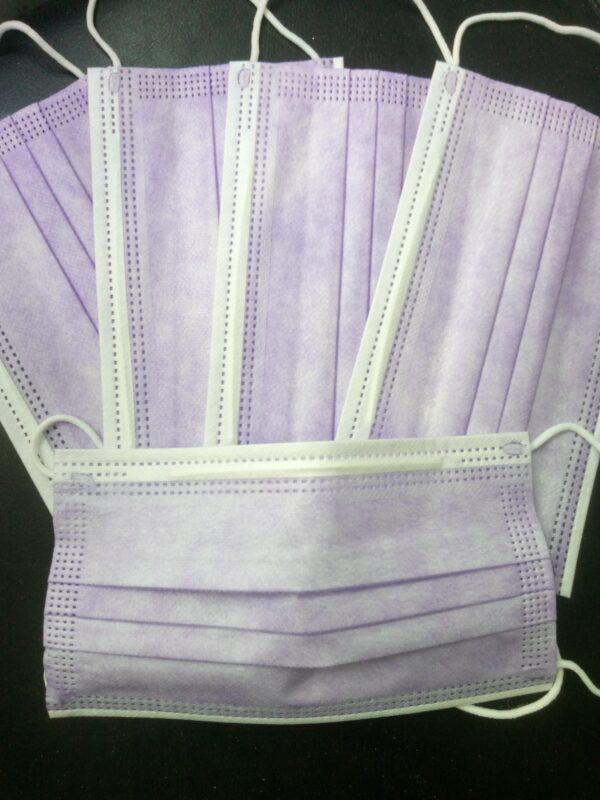 5 Stück  Mundschutz  Farbe: Lavendel Einweg  3-lagig 1