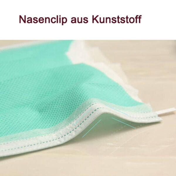 50 Stück  Mundschutz - GRÜN  OP Nasenschutz Atemschutz Einweg 3 lagig 4