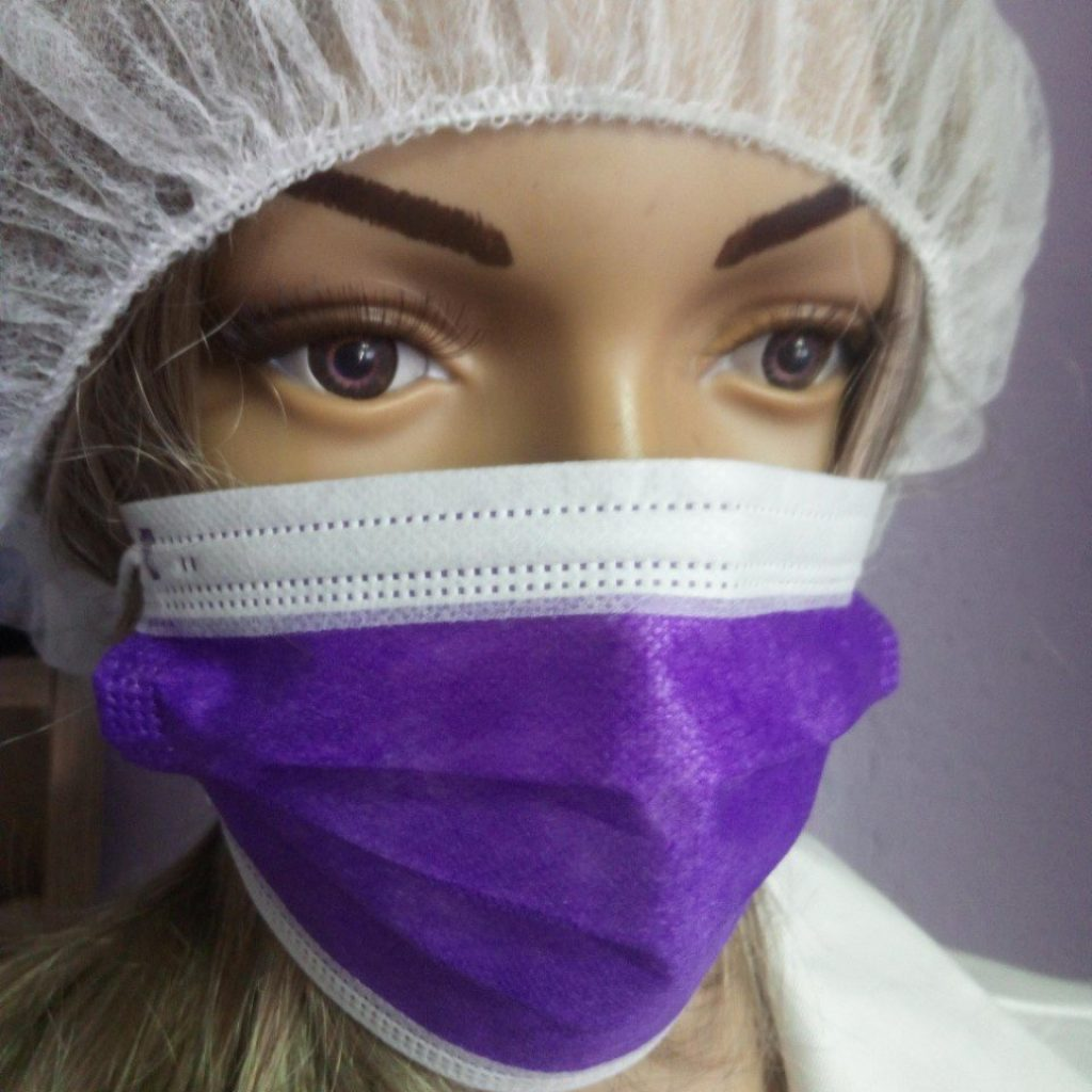 10 Stück Mundschutz - VIOLETT  OP Nasenschutz Atemschutz Einweg 3-lagig 1