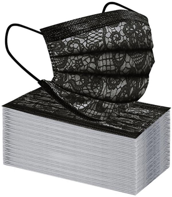 10 Stück Mundschutz - schwarz mit schwarz/weißem Spitzen Designdruck Nasenschutz Atemschutz Einweg 3-lagig 1