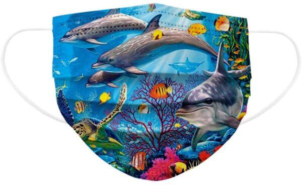 5 Stück Kinder Mundschutz - Sea Life- Einweg 3- lagig 1
