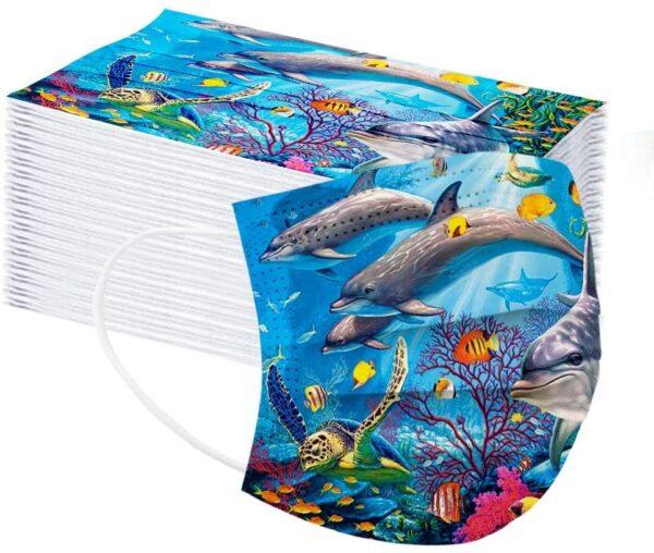5 Stück Kinder Mundschutz - Sea Life- Einweg 3- lagig 2