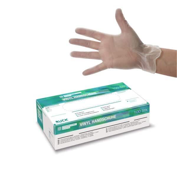 Vinyl Handschuhe 100 Stück/Box  Gr. L  transparent  puderfrei latexfrei 1