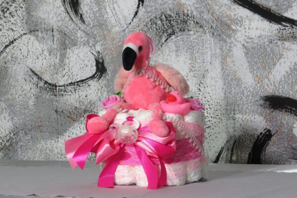 """Windeltorte Gr. M """"Flamingo Cupcake"""" Mädchen Einzelstück One-of-One 1"""