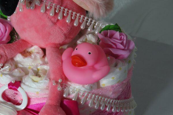 """Windeltorte Gr. M """"Flamingo Cupcake"""" Mädchen Einzelstück One-of-One 9"""