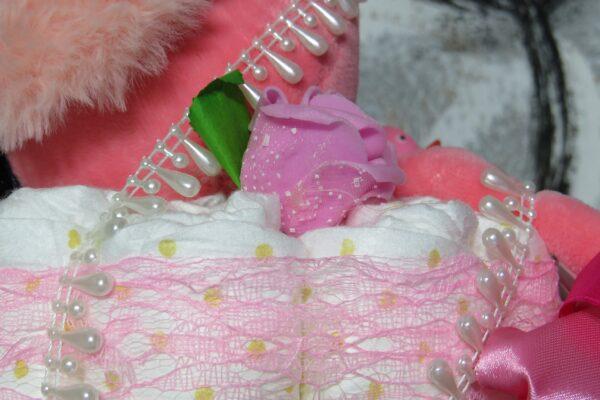 """Windeltorte Gr. M """"Flamingo Cupcake"""" Mädchen Einzelstück One-of-One 3"""