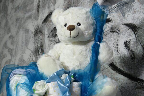 """XXL Windel-Arrangement """"Big Baer"""" Einzelstück blau weiß 2"""