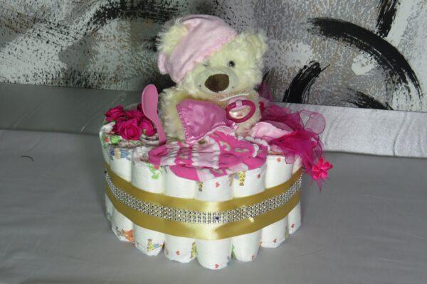 """Windeltorte Cupcake """" Pinky"""" mit Schlafteddy rosa 32-teilig 1"""