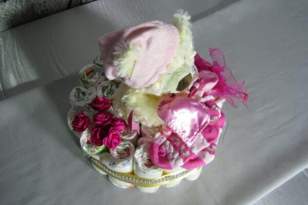 """Windeltorte Cupcake """" Pinky"""" mit Schlafteddy rosa 32-teilig 2"""