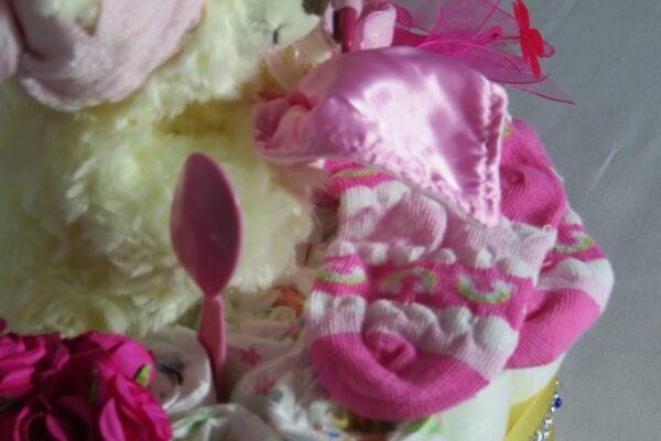"""Windeltorte Cupcake """" Pinky"""" mit Schlafteddy rosa 32-teilig 4"""