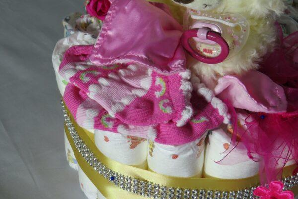 """Windeltorte Cupcake """" Pinky"""" mit Schlafteddy rosa 32-teilig 6"""