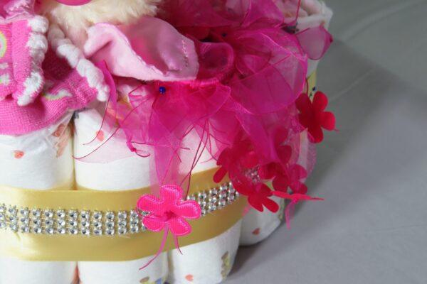 """Windeltorte Cupcake """" Pinky"""" mit Schlafteddy rosa 32-teilig 7"""