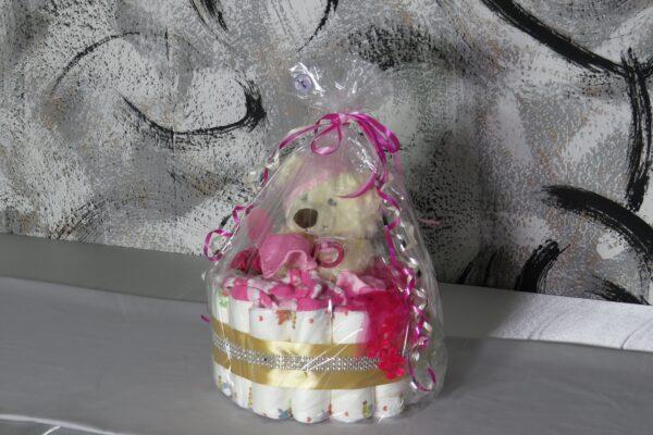 """Windeltorte Cupcake """" Pinky"""" mit Schlafteddy rosa 32-teilig 10"""