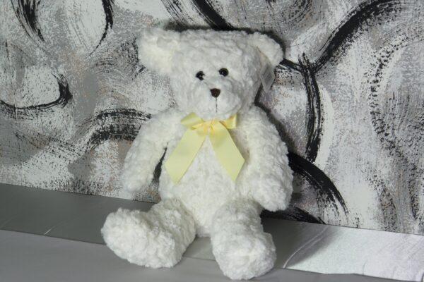 Kuscheltier, weißer Bär mit gelber Schleife, Höhe ca. 52cm 1