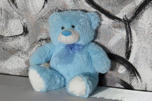 """Kuscheltier """"Bär"""" hellblau, sitzend mit Scheife, Größe: 50cm, sitzend 35cm 1"""