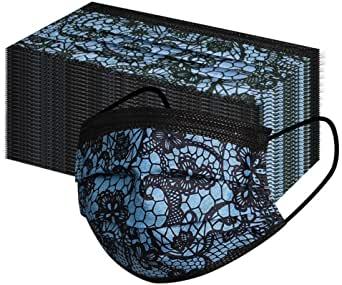 10 Stück Mundschutz - schwarz mit schwarz/blauem Spitzen Designdruck Nasenschutz Atemschutz Einweg 3-lagig 2