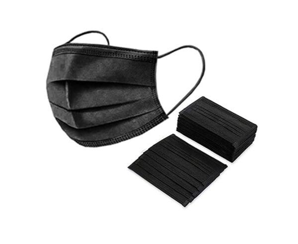 50 Stück OP Mundschutz Typ II komplett schwarz Nasenschutz Atemschutz Einweg 3-lagig 1