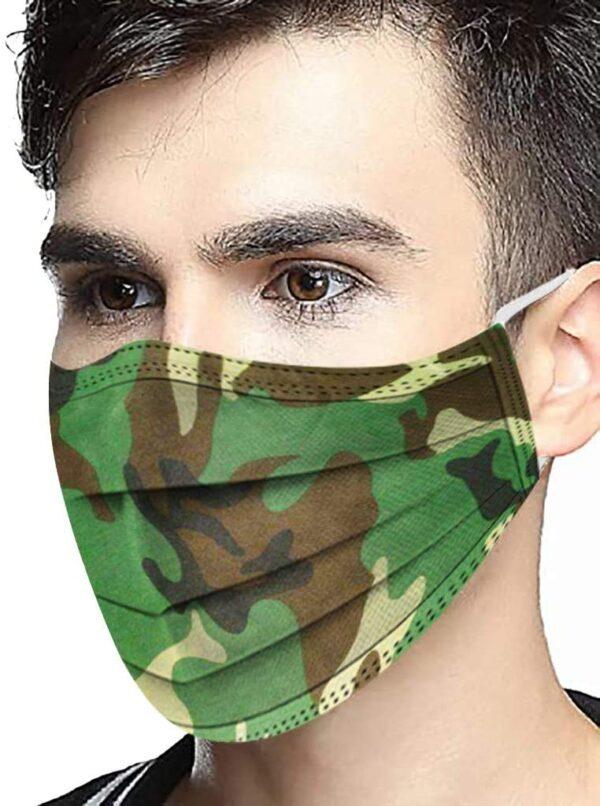 """5 x Design Mundschutz Design:  """"Military"""" schwarz/grün/beige Einweg 3 lagig 1"""