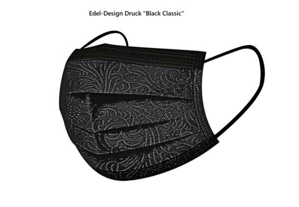 "5 x Design Mundschutz   ""Black Classic""  Einweg 3 lagig 1"