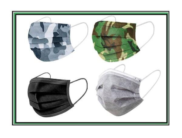 20 Stück Mundschutz Männer-MIX je 5 x Design:  Military - Tarnfleck -  schwarz und grau 3-lagig 1