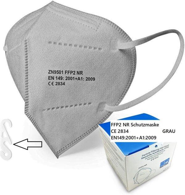 1 x FFP2 NR Schutzmaske, GRAU, 5-lagig, Atemschutzmaske FFP2 CE 2834 1