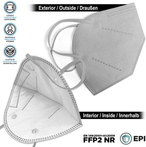 1 x FFP2 NR Schutzmaske, GRAU, 5-lagig, Atemschutzmaske FFP2 CE 2834 2