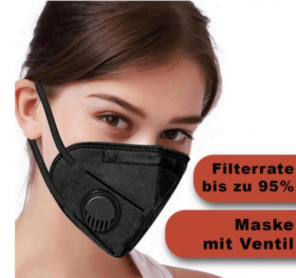 3er Pack KN95 Schutzmaske mit Ventil, Schwarz, 5-lagig, Einweg-Atemschutzmaske FFP2 Standard 2