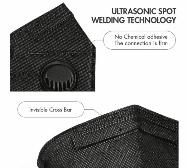 3er Pack KN95 Schutzmaske mit Ventil, Schwarz, 5-lagig, Einweg-Atemschutzmaske FFP2 Standard 3