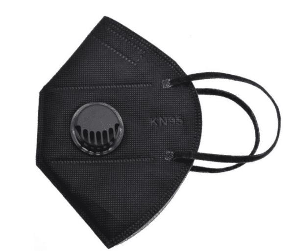 3er Pack KN95 Schutzmaske mit Ventil, Schwarz, 5-lagig, Einweg-Atemschutzmaske FFP2 Standard 1