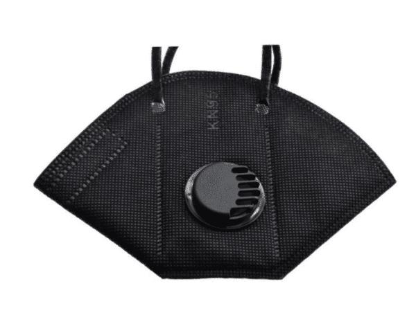 3er Pack KN95 Schutzmaske mit Ventil, Schwarz, 5-lagig, Einweg-Atemschutzmaske FFP2 Standard 4