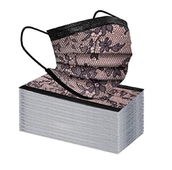 5 Stück Mundschutz - schwarz mit schwarz/rosa Spitzen Designdruck Nasenschutz Atemschutz Einweg 3-lagig 1